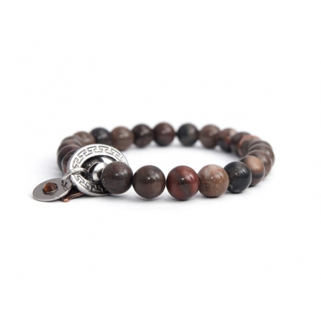 Dove Polychrome Jasper Bead Bracelet For Man With Swarovski Strass And Steel Oval Charm