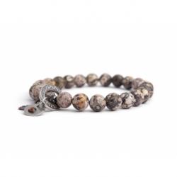 Jasper Breccia Bead Bracelet For Man With Swarovski Strass And Steel Oval Charm