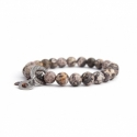 Jasper Breccia Bead Bracelet For Man With Swarovski Strass And Steel Oval Charm