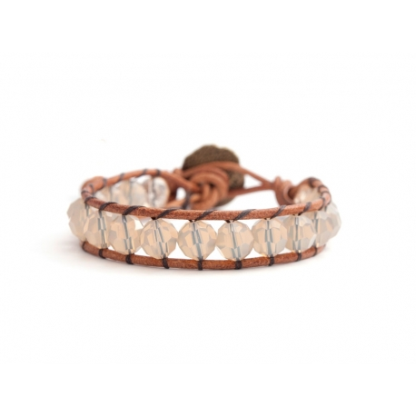 Sand Opal Swarovski Wrapbracelet For Woman. Opal Crystals Onto Natural Leather
