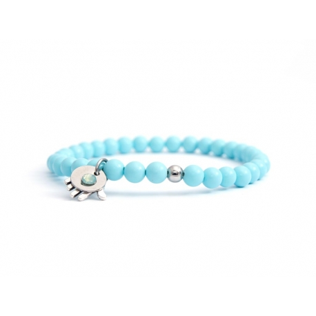 Turquoise Bead Bracelet For Man With Swarovski Strass And Steel Round Tag Charm