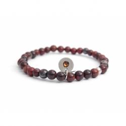 Polychrome Red Jasper Bead Bracelet For Man With Swarovski Strass And Steel Round Tag Charm