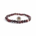 Polychrome Red Jasper Bead Bracelet For Man With Swarovski Strass And Steel Round Tag Charm