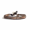 Ghost'S Eye Jasper Bracelet For Man Onto Brown Leather