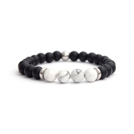 Matte Onyx Natural And White Howlite Stone Beads Man Bracelet