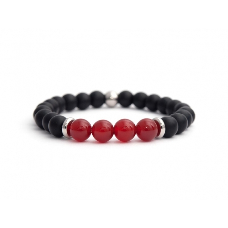 Black Matte Onyx Natural And Red Agate Stone Beads Man Bracelet