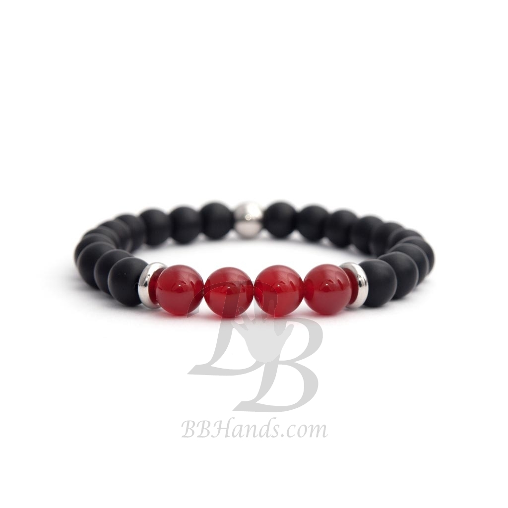 Black Matte Onyx Natural And Red Agate Stone Beads Man