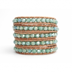 Blue Wrap Bracelet For Woman - Crystals Onto Dark Green Leather