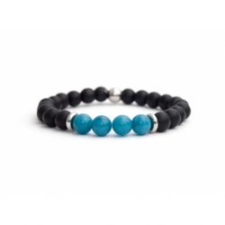 Black Matte Onyx Natural And Angelite Stone Beads Man Bracelet