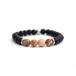 Matte Onyx Natural And Picture Jasper Stone Beads Man Bracelet