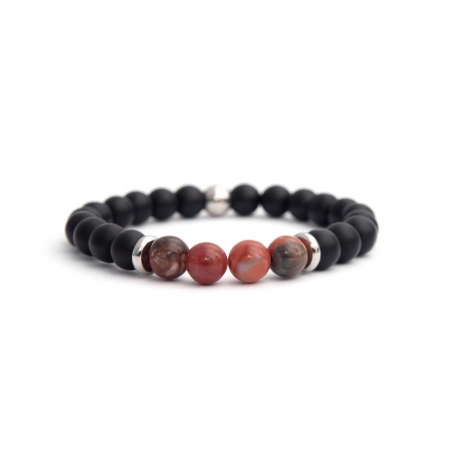 Black Onyx And Red Polychrome Jasper Stone Beads Man Bracelet