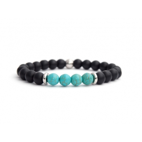 Matte Onyx Natural And Turquoise Stone Beads Man Bracelet