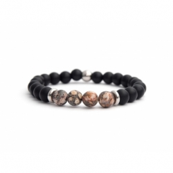 Matte Onyx Natural And Ghost'S Eye Jasper Stone Beads Bracelet For Man