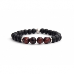 Mens Beaded Bracelet With Matte Onyx Natural And Red Tiger Eye Stone
