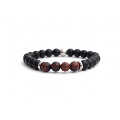 Matte Onyx Natural And Mahogany Obsidian Stone Beads Bracelet For Man
