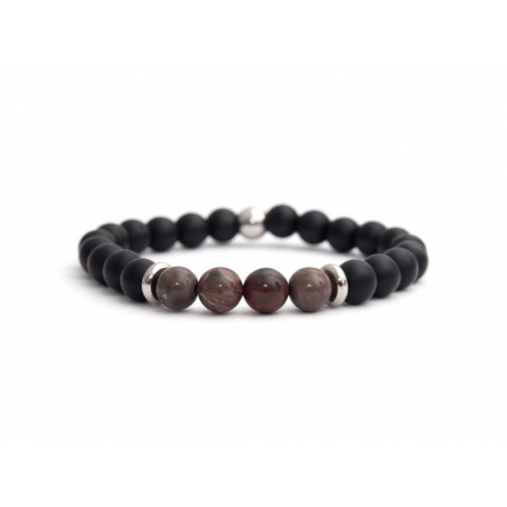 Matte Onyx Natural And Polychrome Jasper Stone Beads Man Bracelet