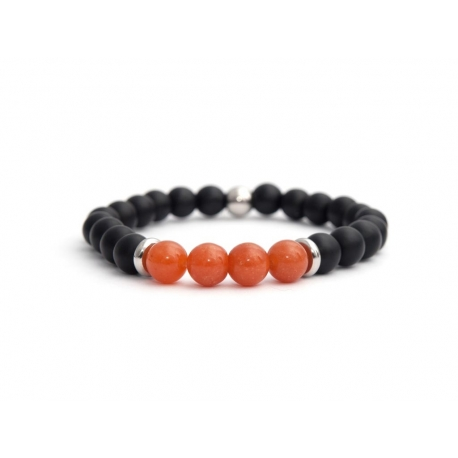 Mens Beaded Bracelet With Matte Onyx Natural And Aventurine