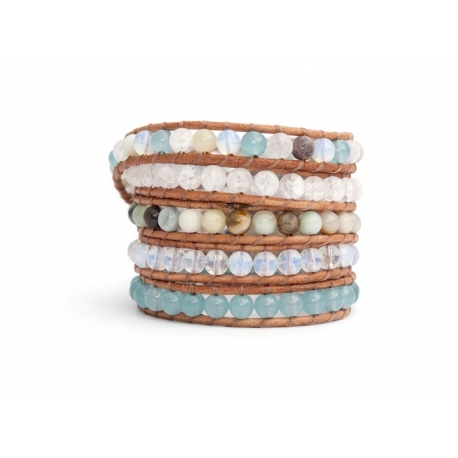 Mix Colored Wrap Bracelet For Woman - Precious Stones Onto Pearl Leather