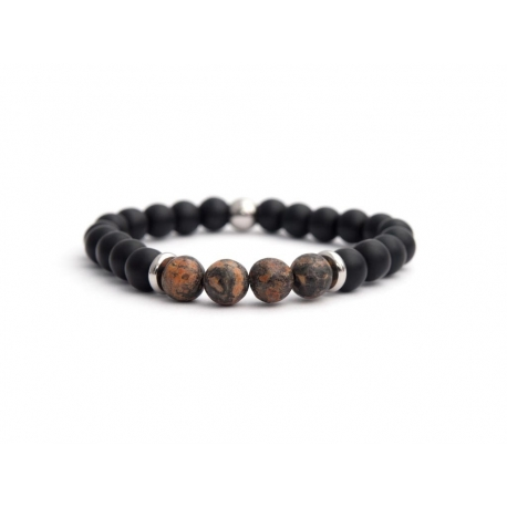Matte Onyx Natural And Leopardskin Jasper Stone Beads Man Bracelet