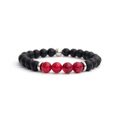 Matte Onyx Natural And Bamboo Coral Stone Beads Man Bracelet