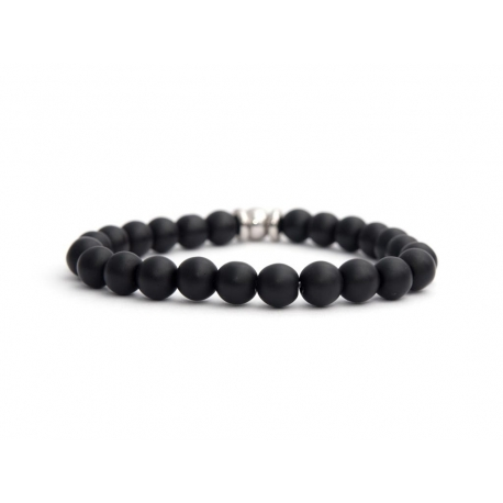 Mens Beaded Bracelet With Black Matte Onyx Natural Stone