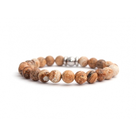 Mens Beaded Bracelet With Picture Jasper Stone