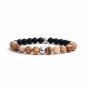 Matte Onyx Natural And Picture Jasper Stone Beadss Bracelet For Man