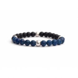 Mens Beaded Bracelet With Lapis Lazuli And Matte Onyx Natural