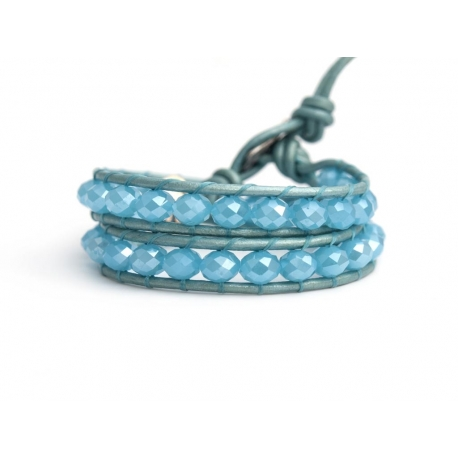 Azure Wrap Bracelet For Woman - Crystals Onto White Leather
