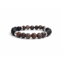 Mens Beaded Bracelet With Black Matte Onyx Natural And Polychrome Jasper