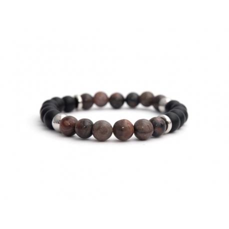 Mens Beaded Bracelet With Black Matte Onyx Natural And Polychrome Jasper