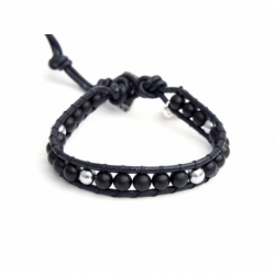 Blue Wrap Bracelet For Man - Precious Stones Onto Black Leather