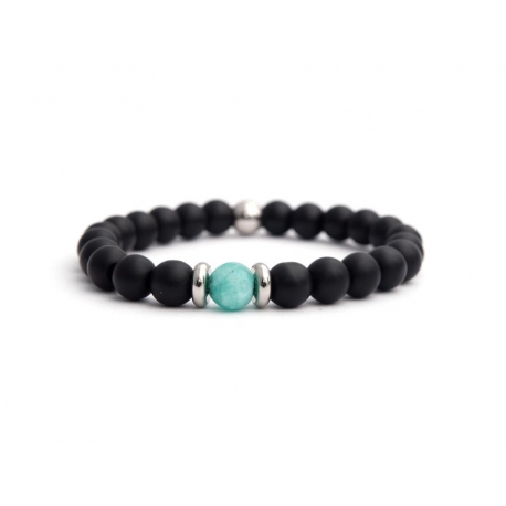 Matte Onyx Natural And Green Water Matte Agate Stone Beads Man Bracelet