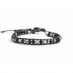 Botswana Agate Bracelet For Man Onto Black Leather