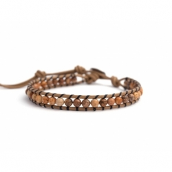 Jasper Bracelet For Man. Picture Jasper Onto Dove-Grey Leather