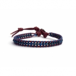 Lapis Lazuli Bracelet For Man Onto Dark Red Leather