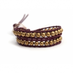 Gold Wrap Bracelet For Woman - Precious Stones Onto Black Leather