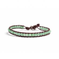 Green Avventurine Bracelet For Man Onto Bark Leather