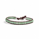 Green Avventurine Bracelet For Man Onto Bark Leather