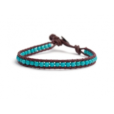 Turquoise Bracelet For Man Onto Bark Leather