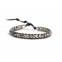 Dalmatian Jasper Bracelet For Man Onto Black Leather