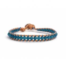 Dark Angelite Bracelet For Man Onto Caramel Leather