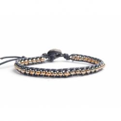 Gold Grey Hematite Bracelet For Man Onto Grey Leather