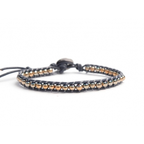 Gold Grey Hematite Bracelet For Man Onto Grey Leather