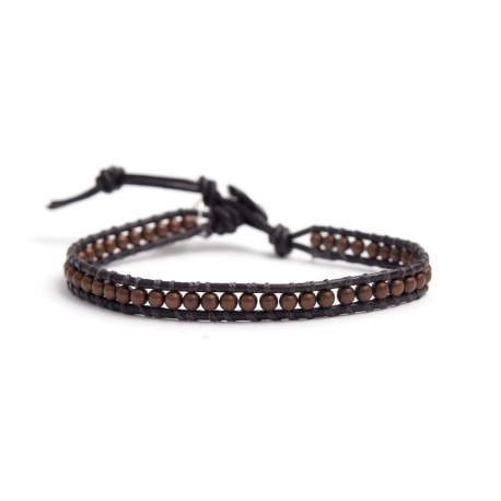 Bronze Hematite Bracelet For Man Onto Dark Brown Leather
