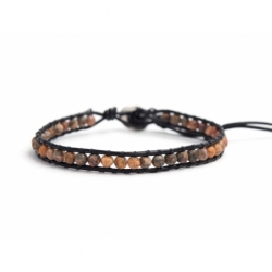 Ghost'S Eye Jasper Bracelet For Man Onto Black Leather