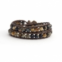 Brown Wrap Bracelet For Woman - Precious Stones Onto Natural Light Leather