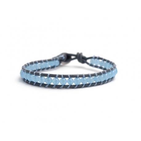 Light Angelite Bracelet For Man Onto Mouse Grey Leather