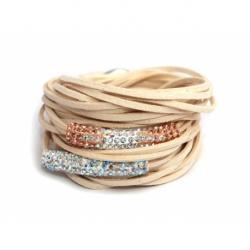 Beige Alcantara Wrap Bracelet For Woman With Strass