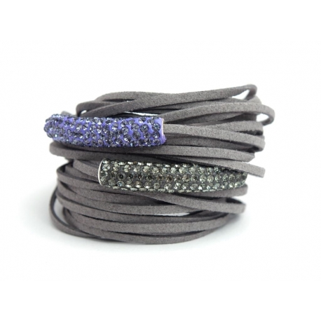 Grey Alcantara Wrap Bracelet For Woman With Strass